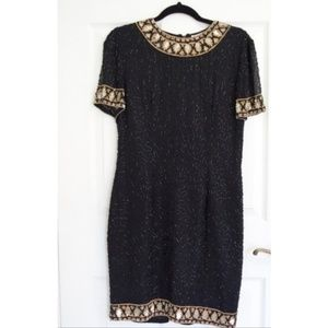 Vintage AJ Bari Sequin Shift Dress Black Gold SZ 6